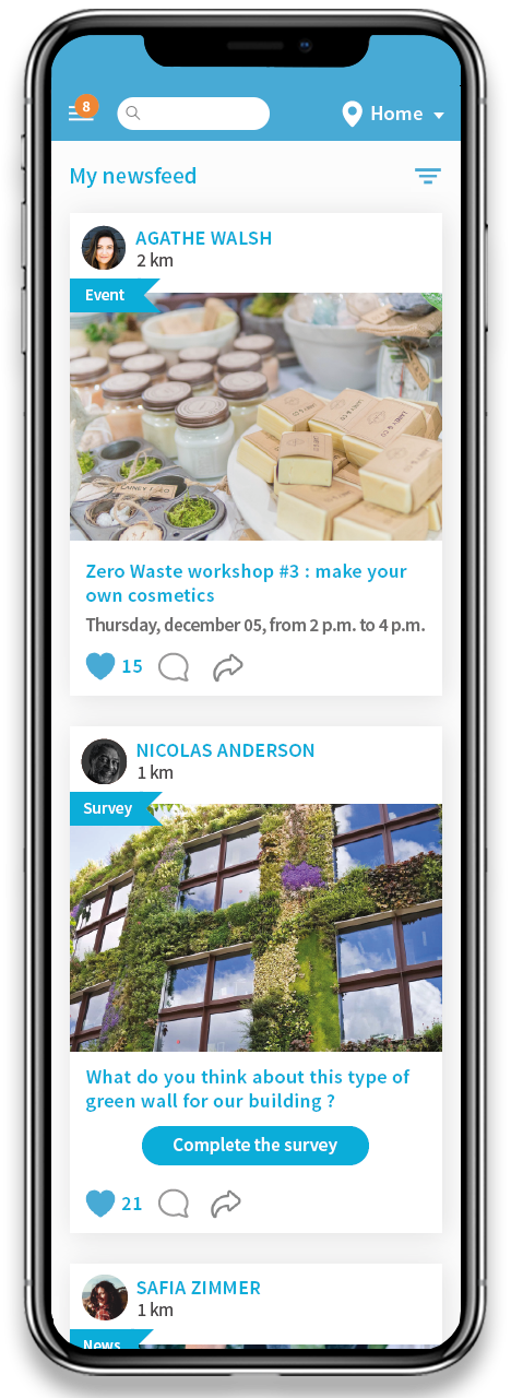 Sharing app : news feed